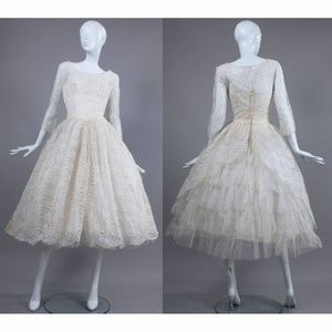S Vintage 50s Lace Tulle Full Wedding Party Dress